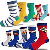 10 Pairs Kids Toddler Boys Girls Colorful Novelty Fashion Cotton Crew Socks(2-5 Years)