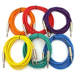 SEISMIC AUDIO - SATRXL-F10 - 6 Pack of Muliple Colored 10' 1/4 TRS to 1/4 TRS Patch Cables