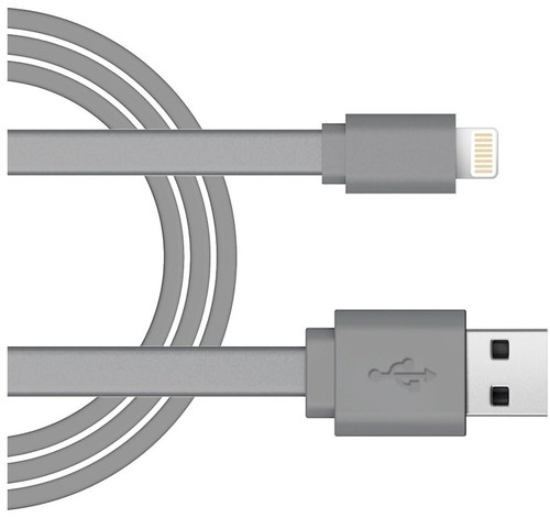 Just Wireless 705954051404 3 Feet Braided 8 Pin Lightning To Usb Charge And Sync Cable - Gray