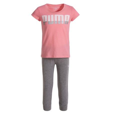 Puma T-shirt And Capris Joggers Set - Short Sleeve (for Toddler Girls)