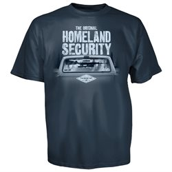 Jeff Foxworthy Original Homeland Security Rifle Rack Blue T-Shirt-medium
