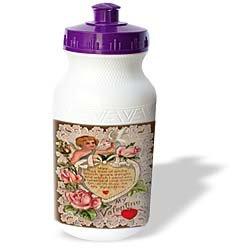Sandy Mertens Vintage Valentine Designs - Vintage My Valentine Cupid - Water Bottles