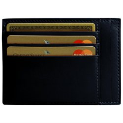 LUCRIN - Credit Card and Bill Holder - Smooth Cow Leather - Navy blue