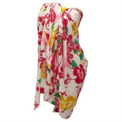 La Leela Trio combination of Red,yellow And Green Floral Printed Swim Sarong Pareo