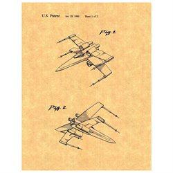 Star Wars X-Wing Fighter Patent Art Print