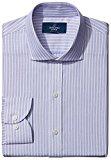 Buttoned Down Men's Slim Fit Cutaway-Collar Textured Stripe Non-Iron Dress Shirt, purple, 14.5 33