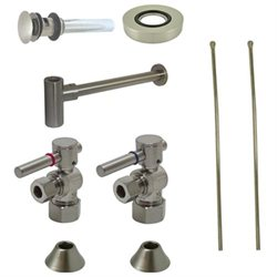 Kingston Brass Cc53308dlvokb30 Comtemporary Plumbing Sink Trim Kit With P Trap For Vessel Sink With Overflow Satin Nickel