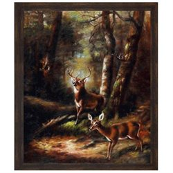Art Reproduction Oil Painting - The Forest - Adirondacks with Copper Sweep - Dark wood frame with a distressed bronze finish. - 23.125 X 27.125 - Hand Painted Framed Canvas Art