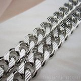 24in Long Real 18k White Gold Filled Mens Necklace Euro Curb Link Chain Jewelry