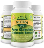 Pure Garcinia Cambogia Extract With No Added Calcium - Natural Appetite Suppressant and Weight Loss Supplement - 60% HCA - 750mg per serving - 3000mg per day - Third Party Lab Tested For Purity and Product Integrity - (750mg 120 Capsules)
