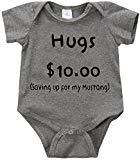 LPM Hugs $10.00 saving up for my mustang Unisex Funny Romper Onesie Creeper (6months, Grey)