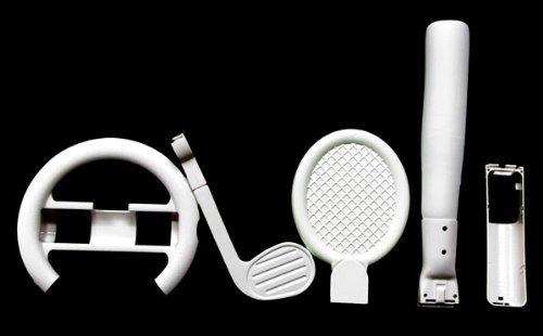 Nintendo WII Sport 6 Piece Accesssory Combo Bundle Kit with Racing Wheel Tennis Baseball and Golf