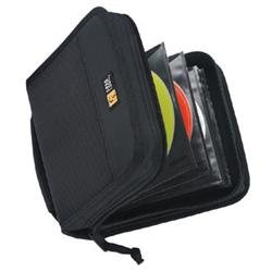 Case Logic 32 Capacity CD Wallet - Book Fold - Nylon - Black - 32 CD/DVD