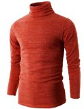 H2H Mens Basic Knitted Turtleneck Pullover Sweaters of Various Colors ORANGE Asia XL (KMTTL028)
