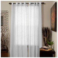 Set of 2 Lavish Home Mia Jacquard Grommet Curtain Panel - White