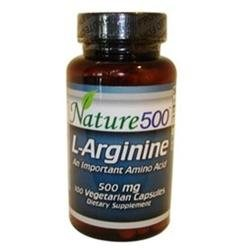 Nature500 L-Arginine 500 mg Amino Acid 100 Vegetarian Capsules Dietary Supplement