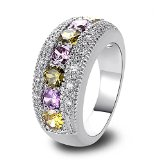 Psiroy 925 Sterling Silver Stunning Created Gorgeous Women's 3.5mm*3.5mm Round Cut Peridot Charms Filled Ring