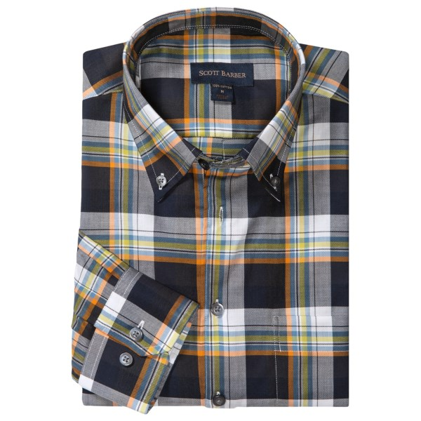 Scott Barber James Fancy Plaid Sport Shirt - Cotton Twill, Long Sleeve (For Men)