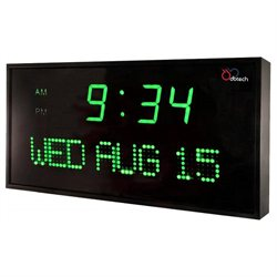 DBTech Big Digital Blue LED Calendar Clock with Day & Date (22 - Green LED)