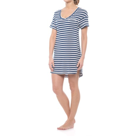 Intimates All-american Ribbed Sleep Shirt - Stretch Rayon, Short Sleeve (for Women)