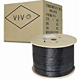VIVO Black Full Copper 500 ft Cat6 Ethernet Cable 23 AWG/Wire 500ft Cat-6 Waterproof Outdoor/Direct Burial/Underground (CABLE-V014)