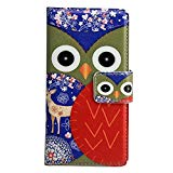 Crazy Panda Sony Xperia M2 Case Cartoon Owls Painted Magnetic Card Holder Stand Cover Skin Protector Premium Vintage Flip Leather Wallet Folio Cover for Sony Xperia M2  Cleaning Cloth Dust Plug Wire Organizer (Gray Red)