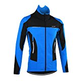 OUTON Men's Cycling Jacket Windproof Breathable Lightweight Reflective Warm Thermal Stand-up Collar Waterproof MTB Mountain Bike Jacket (Blue, L)