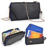 Asus Zenfone 5 Wallet Wristlet Clutch With Crossbody Chain and Hand Strap (Removable) and Credit Card Slots  Black & Blue Symphony