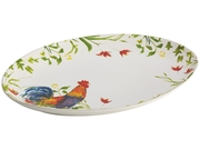 Bonjour  50176  Dinnerware Meadow Rooster Stoneware 9-3/4-inch By 14-inch Oval Platter