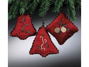 Red Velvet Embroidered & Beaded Holly Berry Christmas Ornament