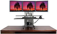 The Ergotech 700 ULT 123 BUN One Touch Ultra 1 2 3 Sit Stand Workstation this bundle is perfect for someone who may want to add more monitors in the future, or for someone who wants to mount 3 monitors.