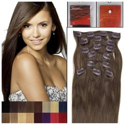 20 8pcs Full Head Clip On Straight Real Remy Human Hair Extensions 01 Beauty Salon 100G WOMEN