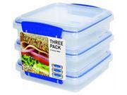 Sistema Klip It 3 By 15.2-ounce Sandwich Box Set, 3-pack, Clear