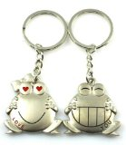 4EVER Romantic Amusing Stainless Alloy Metal Silver Happy Smiling Animal Frog Couple Keychain with Gift Box Sweetheart Pendant Salmon Lovers Key Ring Key Chain Best for Valentine¡¯s Day Wedding Anniversary (A Pair)