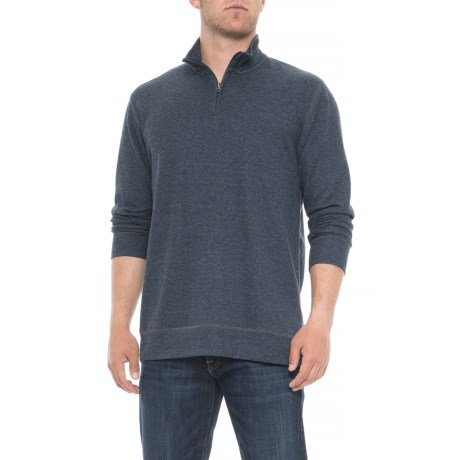 Ribbed Heathered Shirt - Zip Neck, Long Sleeve (for Men)