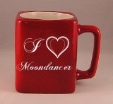 Coffee mug with laser engraved text: I Love Moondancer (first name/surname/nickname)
