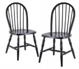 Winsome Wood Assembled 29-Inch Windsor Chairs, Set of 2, Black Finish