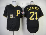 Pittsburgh Pirates #21 Roberto Clemente Black Throwback XXL Stitched Replica Jersey