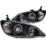Anzo USA 121059 Honda Civic Projector with Halo Clear Lens Black Headlight Assembly - (Sold in Pairs)