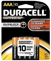 Duracell MN2400B10Z Coppertop AAA batteries deliver dependable, long lasting power