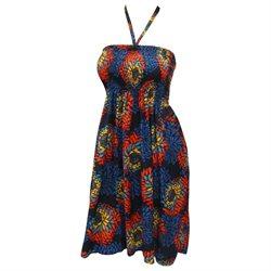 La Leela Allover Printed Backless Smocked Smocked Short Tube Dress Navy Blue