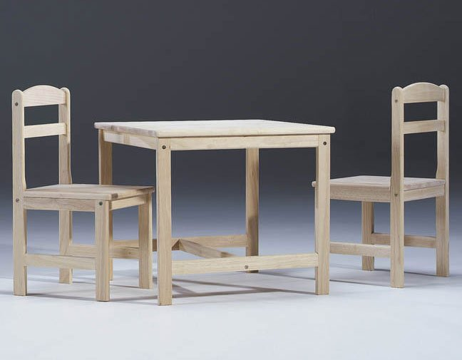 Kids Table and Chair Set - Unfinished Wood - by International Concepts - 2027