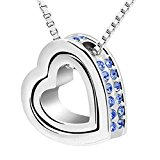 Clearance Women Necklace Daoroka Double Love Heart Shape Crystal Pendant Necklace Jewelry Valentines Gift For Girlfriends (24CM/9.4, Blue)