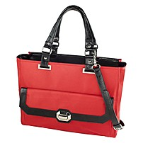 "Madison Francine Collection Carrying Case For 15.6"" Notebook - Black, Red - Microfiber, Leather - Shoulder Strap - 12.5"" Height X 17"" Width X 6.5"" Depth Ff-mad-3"