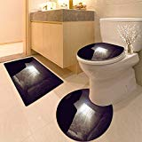 3 Piece Bath Rug Set Compulsive Consumerism Concept Textures Non-Slip Bathroom Mats Contour Toilet Cover Rug
