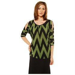 24/7 Comfort Apparel Women's Green Jagged Stripe Printed Tunic