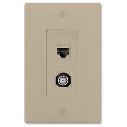 On-Q/Legrand Phone/Video Combo Wallplate, Almond