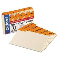 Oxford Manila Index Card Guides with Laminated Tabs