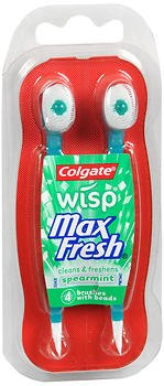 Colgate Wisp Max Fresh Brushes with Beads Spearmint - 4 ct, Pack of 2