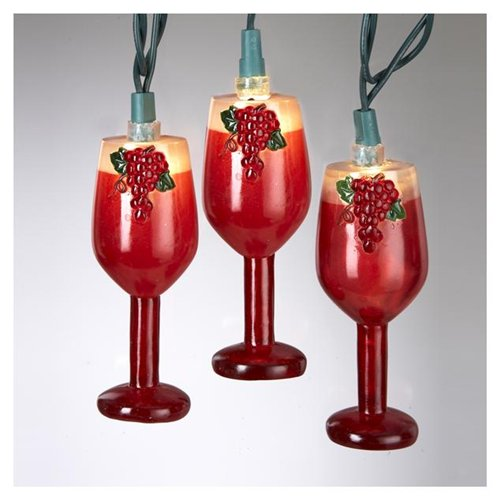 Set of 10 Red Wine Glass Christmas Lights - Green Wire